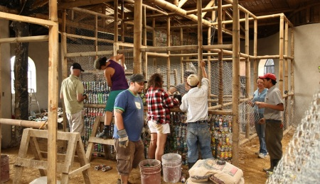A project in Costa Rica where volunteers build structures using eco-bricks, building materials made of plastic recyclables.